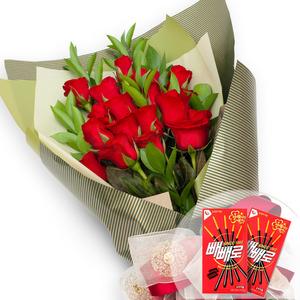 빨간장미꽃다발(빼빼로2개)
