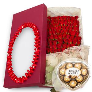 100송이꽃상자+초콜렛포함